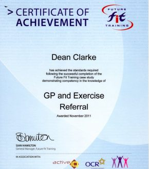 GP & Exercise Referral certificate