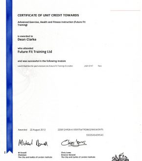 Nutrition For Sport and Exercise certificate