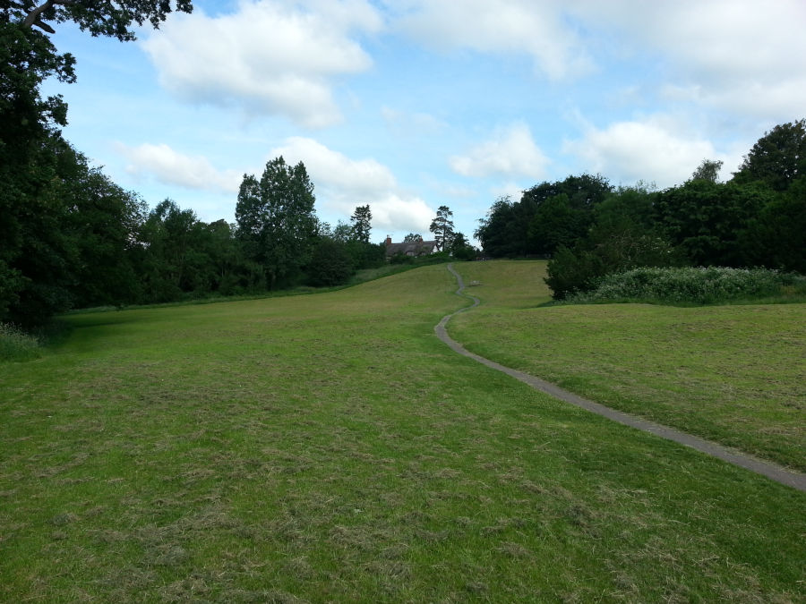 Grassy slopes in Abbey Fields, Castle Hill entrance